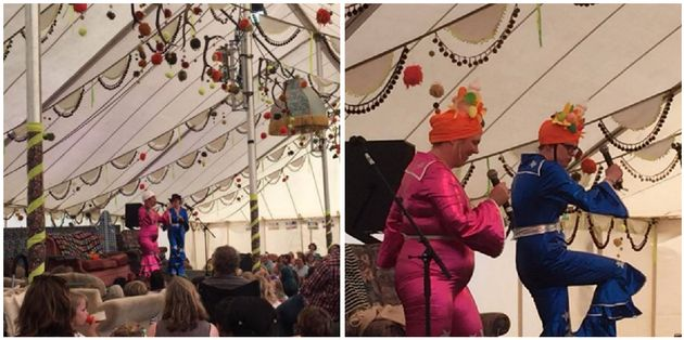 The 'Scummy Mummies' performing on stage at Camp Bestival