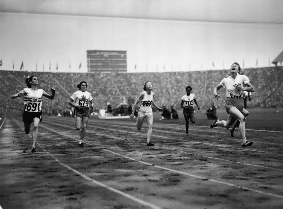 The finish of the women's 100m final at the 1948 London Olympics.