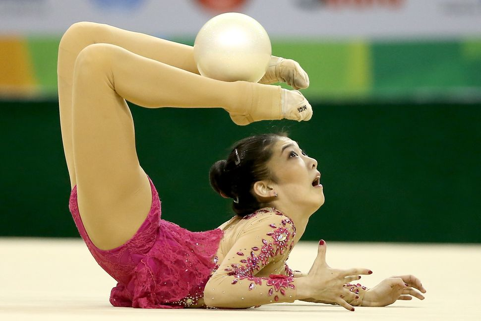 A Chinese gymnast at the 2016 rhythmic all-around final gymnastics qualifier.