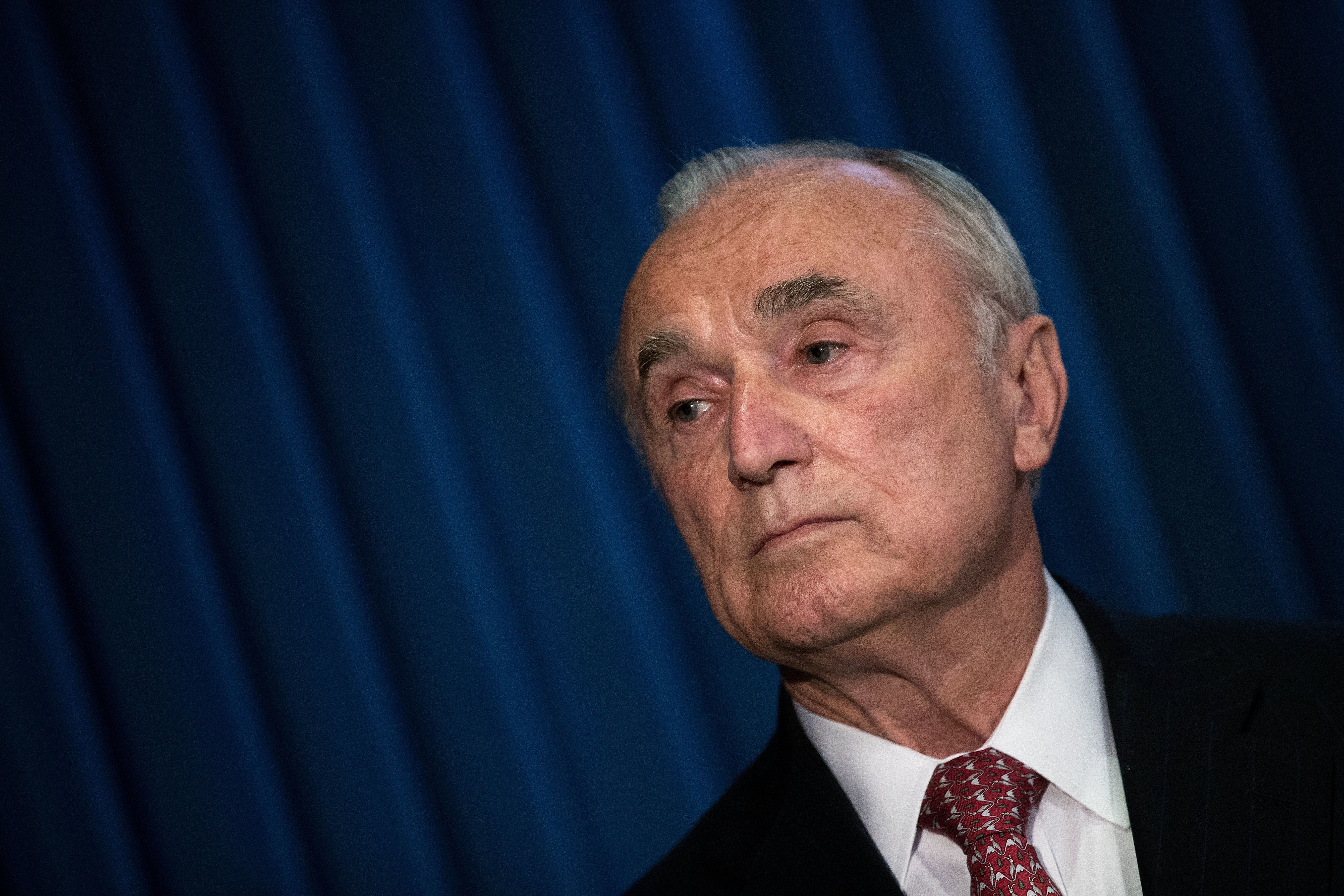 NEW YORK, NY - JUNE 20: William 'Bill' Bratton, Commissioner of the New York City Police Department, listens during a press conference announcing corruption charges against members the New York City Police Department, at the U.S. Attorney's Office, Southern District of New York, June 20, 2016 in New York City.  Early Monday morning, three members of the New York City Police Department and a businessman, who is a top fundraiser for New York City Mayor Bill de Blasio, were arrested on federal corruption charges including the exchange of lavish gifts for favors. (Photo by Drew Angerer/Getty Images)