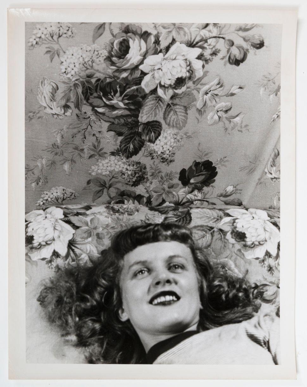 """Eugene Von Bruenchenhein, """"Untitled (Pillow talk with flowers),"""" 1940s, gelatin silver print."""