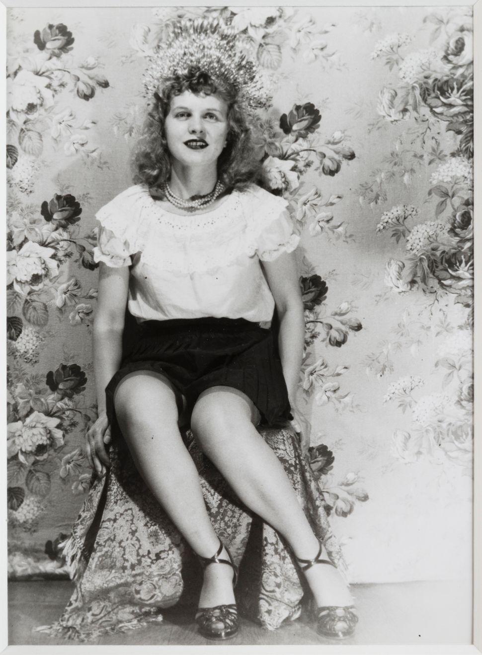 """Eugene Von Bruenchenhein, """"Untitled (Crown with black skirt and ruffle top),"""" 1940s, gelatin silver print."""