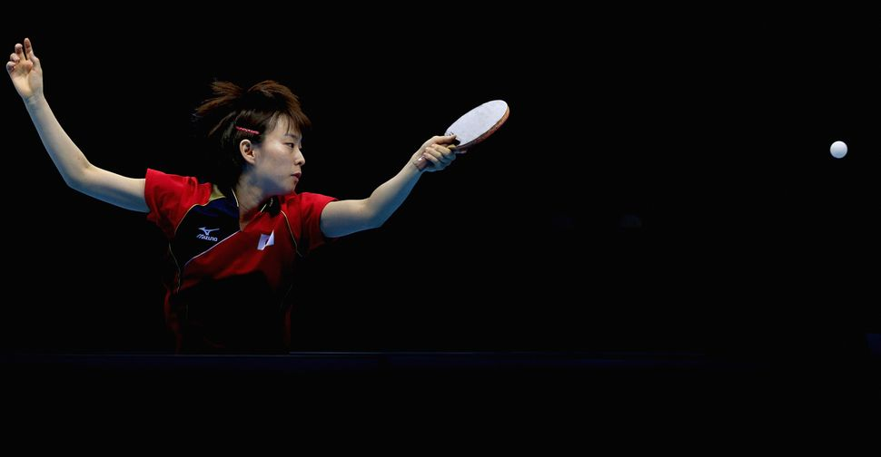 A Japanese Table Tennis playercompetes atthe London 2012 Olympics.