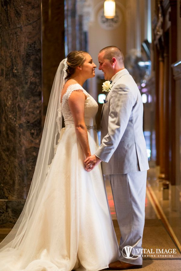 """""""Ali and Brett were married in the beautiful St. Robert's Church in Milwaukee, Wisconsin. Here they were caught taking"""