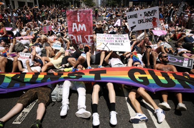 """""""How many more have to die?"""" Gays Against Guns chanted during our """"die-in"""" at the NYC 2016 Pride March just days after the ma"""