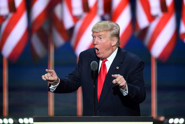 Republican presidential candidate Donald Trump speaks on the last day of the Republican National Convention on July 21, 2016,