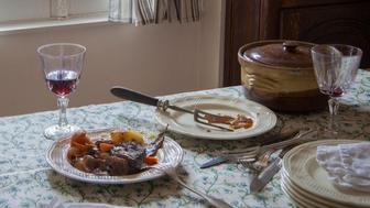"""From 'Fictitious Feasts', work about food scenes in literature. Here setting in the isle of Skye, Mrs Ramsay serves her boeuf en daube, from the English novel """"To the Lighthouse"""" by Virginia Woolf"""