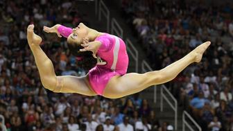July 10, 2016; San Jose, CA, USA; Laurie Hernandez, from Old Bridge, NJ, during the floor exercise in the women's gymnastics U.S. Olympic team trials at SAP Center. Mandatory Credit: Kyle Terada-USA TODAY Sports