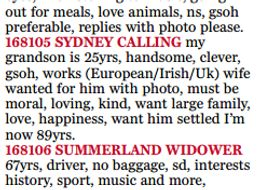 Eager Grandparent Takes Out Hilarious Personal Ad For Single Grandson