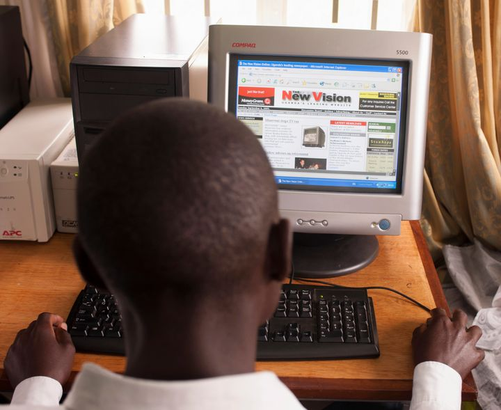 A man reads the website of Ugandan newspaper New Vision, which reported this week on the country's new porn detecti