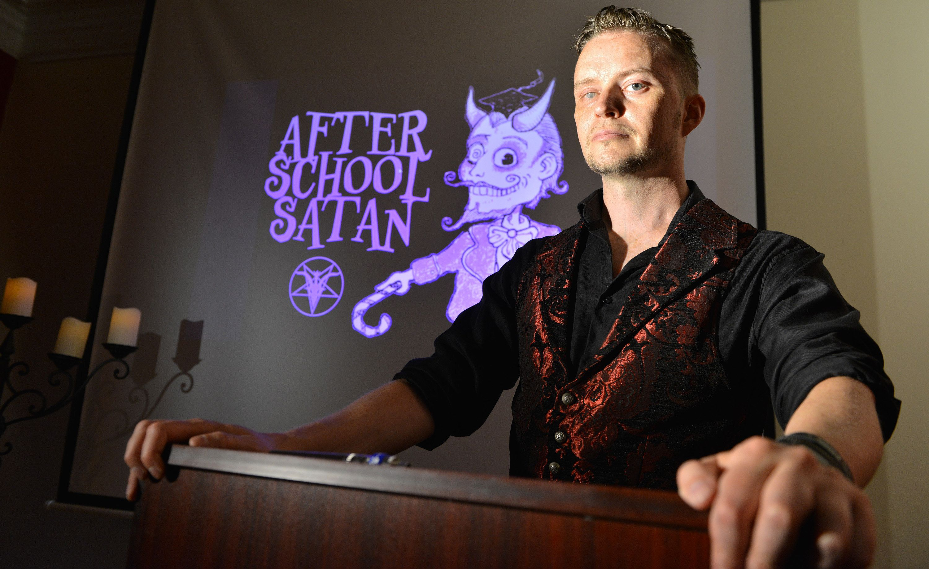 SALEM, MA - JULY 25: Lucien Greaves, is spokesman for The Satanic Temple, a group of political activists who identify themselves as a religious sect, are seeking to establish After-School Satan clubs as a counterpart to fundamentalist Christian Good News Clubs, which they see as the Religious Right to infiltrate  public education, and erode the separation of church and state. (Photo by Josh Reynolds for The Washington Post via Getty Images)