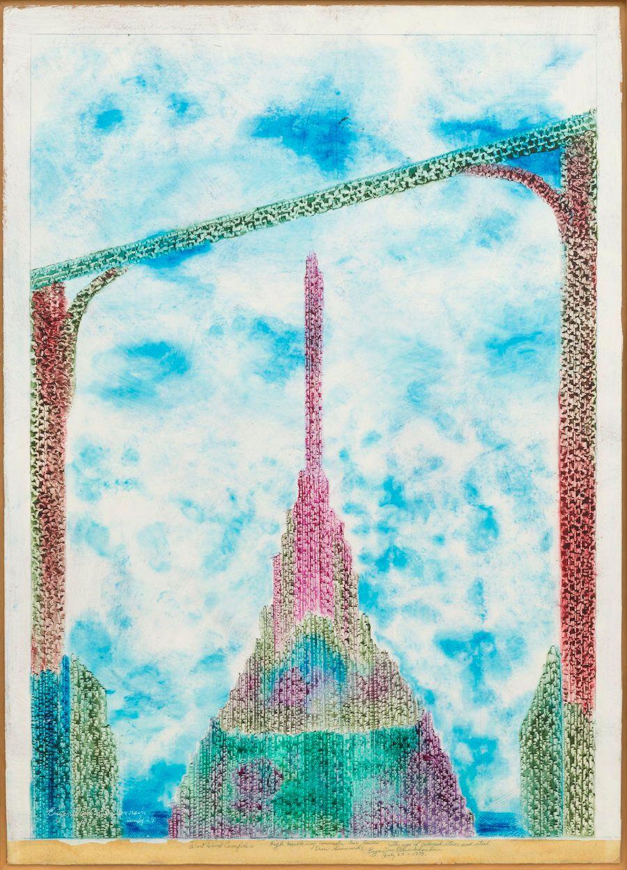 """Eugene Von Bruenchenhein, """"West Wind Complex,"""" July 25, 1978, oil on cardboard."""