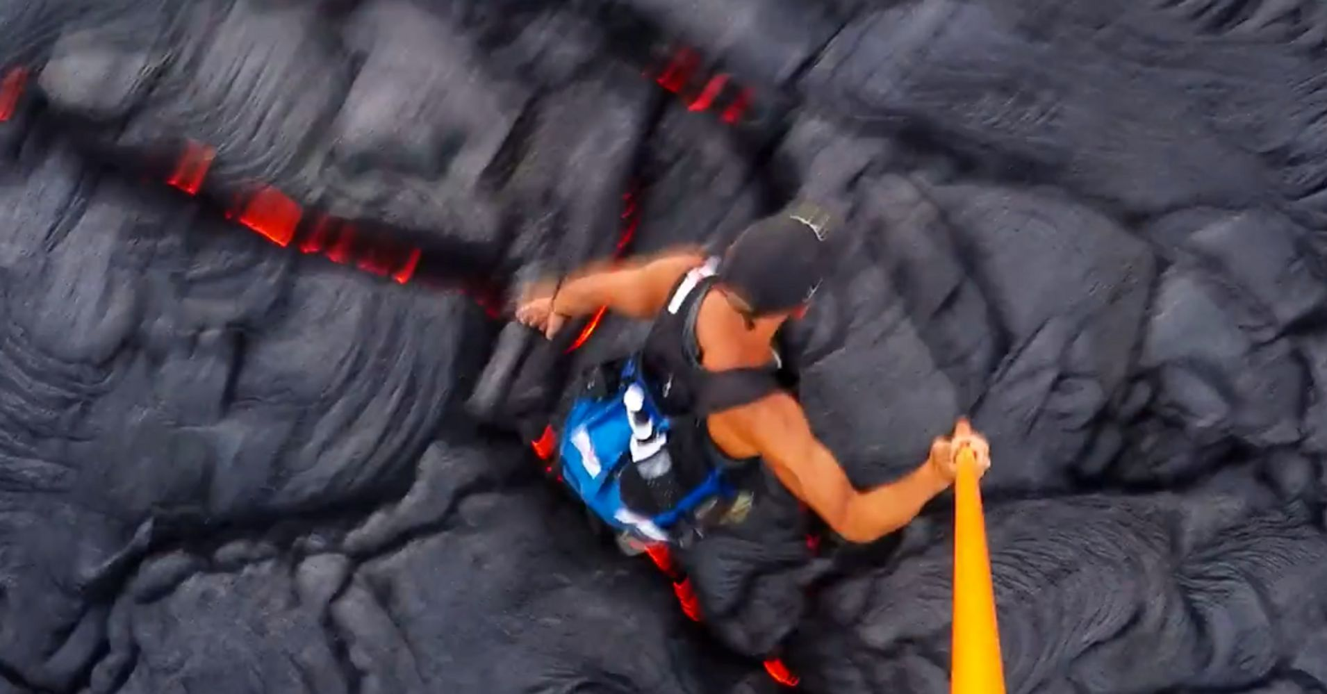 Watch A Man Run Through A Scorching Lava Field And Try Not To Wince