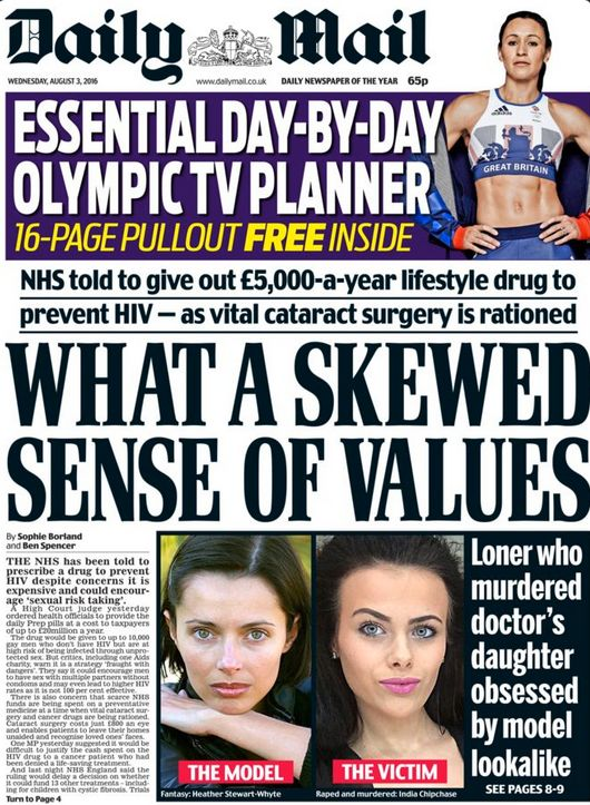 The Daily Mail front page that sparked outrage by calling arevolutionary pill that prevents HIV...