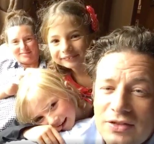 Jamie Oliver, his wife Jools and his two kids Buddy and Petal.