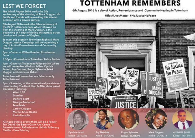 The flyer for the Tottenham Remembers event on
