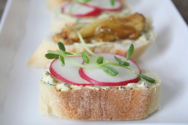 """<strong>Get the <a href=""""http://food52.com/recipes/17615-spring-radish-crostini-with-creamy-herb-butter"""" target=""""_blank"""">Spri"""
