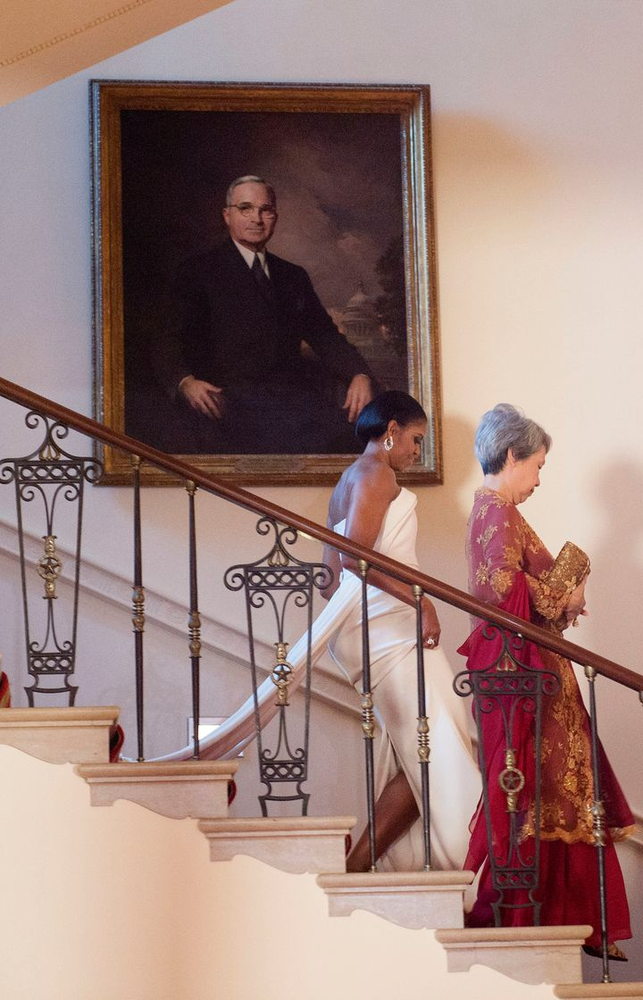 Michelle Obama's Stunning State Dinner Gown Gets A Big ...