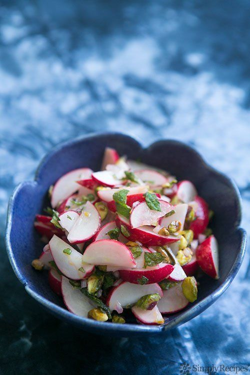 """<strong>Get the <a href=""""http://www.simplyrecipes.com/recipes/radish_salad_with_mint_and_pistachios/"""" target=""""_blank"""">Radish"""
