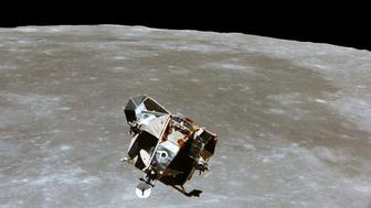 The Apollo 11 Lunar Module ascent stage, with astronauts Neil A. Armstrong and Edwin E. Aldrin Jr. aboard, is photographed from the Command and Service Modules in lunar orbit in this July, 1969 file photo.   Photo courtesy of NASA/Handout via REUTERS  ATTENTION EDITORS - THIS IMAGE WAS PROVIDED BY A THIRD PARTY. EDITORIAL USE ONLY
