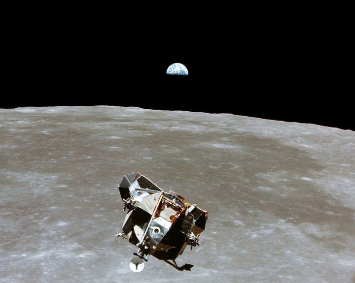 The Apollo 11 Lunar Module ascent stage, with astronauts Neil A. Armstrong and Edwin E. Aldrin Jr. aboard, is photographed fr