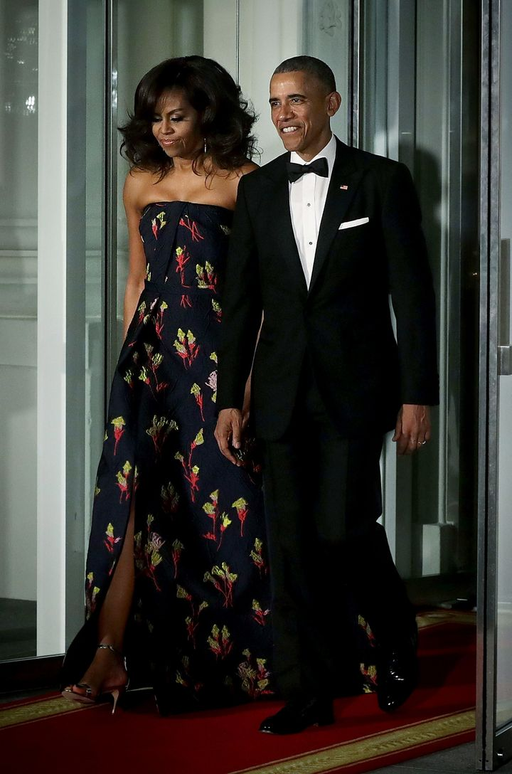 A stunning Jason Wu gown at the 2016 state dinner in honor of Canadian Prime Minister Justin Trudeau and his wife.