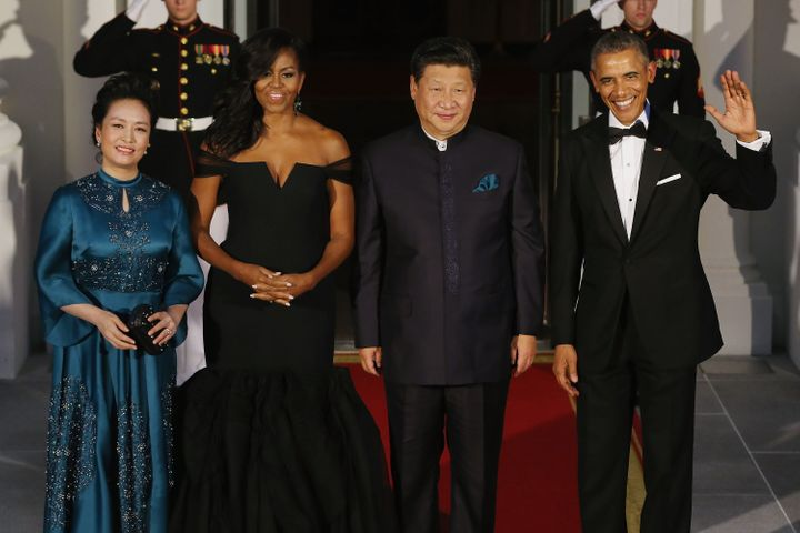Flawless in a black mermaid gown from Vera Wang Collection at a 2015 state dinner for Chinese President Xi Jinping.