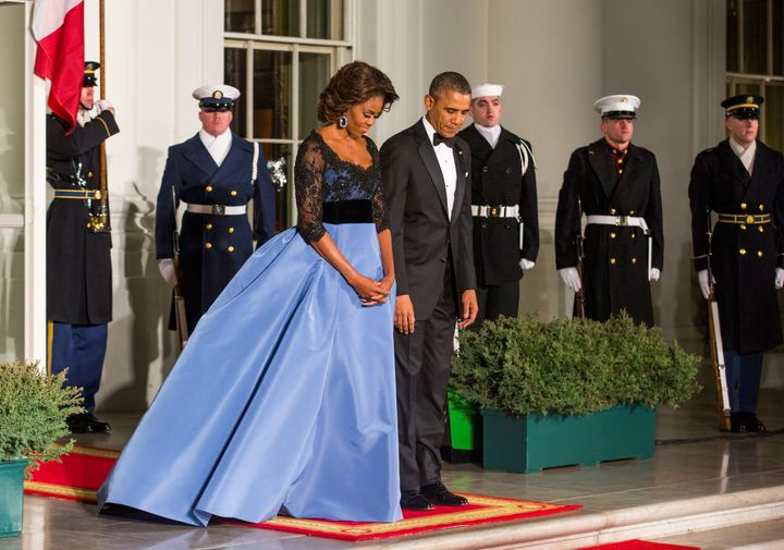 A Carolina Herrera gown at the 2014 state dinner for French President Francois Hollande.