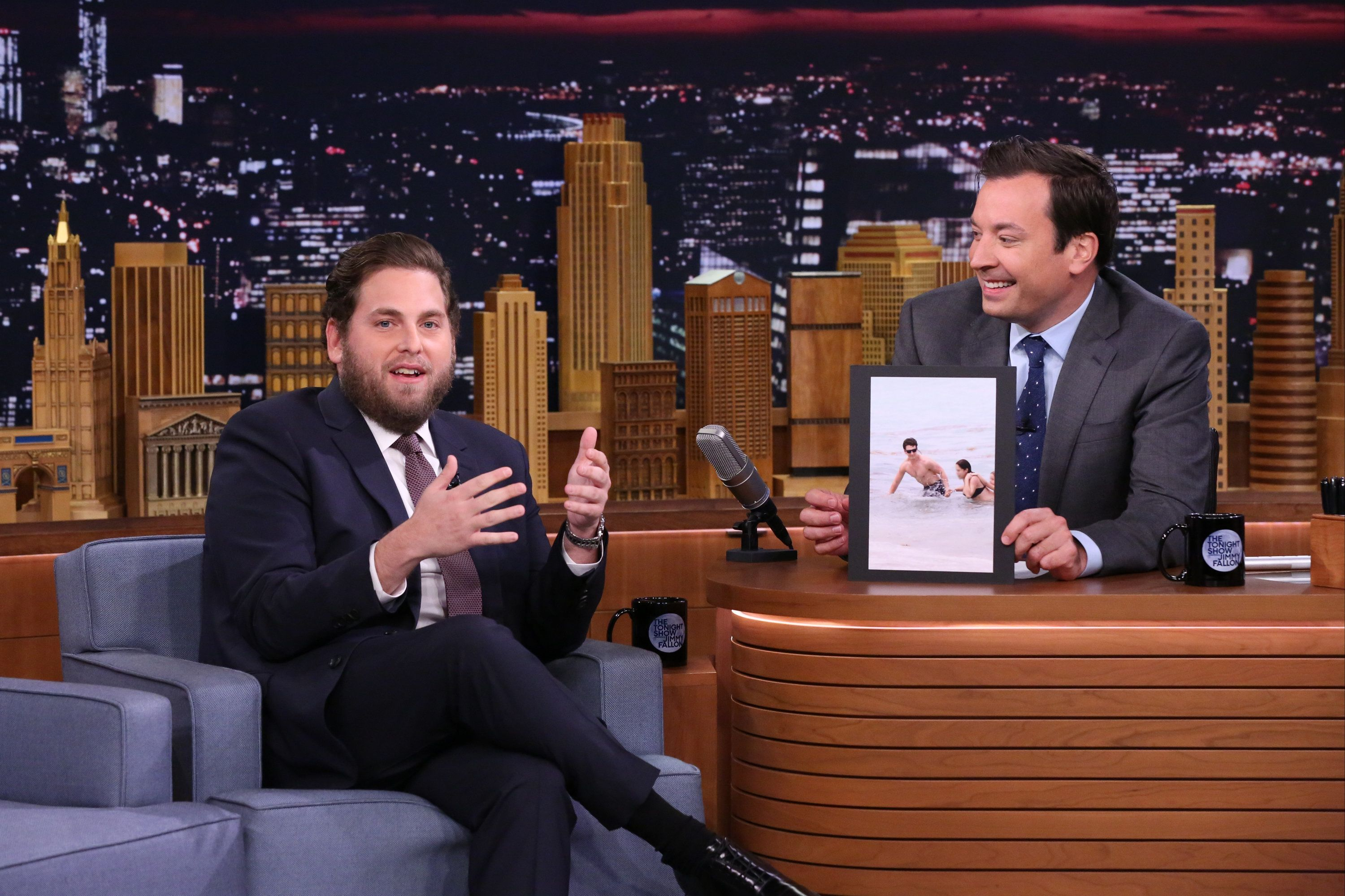 THE TONIGHT SHOW STARRING JIMMY FALLON -- Episode 0513 -- Pictured: (l-r) Actor Jonah Hill during an interview with host Jimmy Fallon on August 2, 2016 -- (Photo by: Andrew Lipovsky/NBC/NBCU Photo Bank via Getty Images)