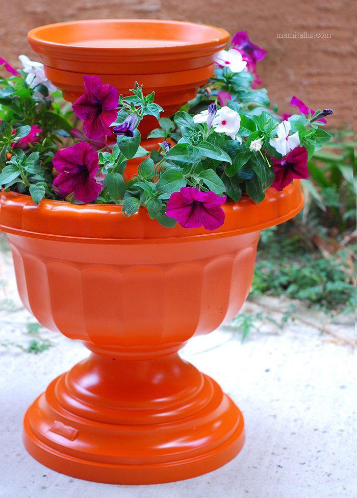 A vibrant bird bath makes for a great garden centerpiece.