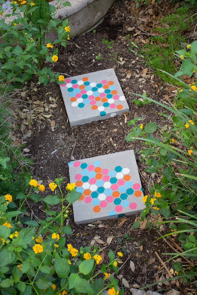 Bring a pop of color to any path with decorative stones.