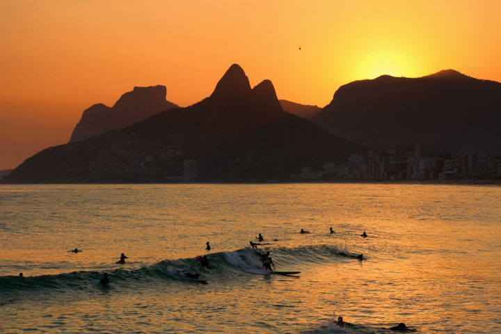 Sunset over Rio de Janeiro with Morro Dois Irmãos in the background.