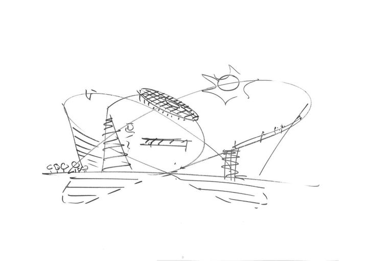 A concept drawing for the Climate Museum, sketched by Danish-Icelandic artist Olafur Eliasson.