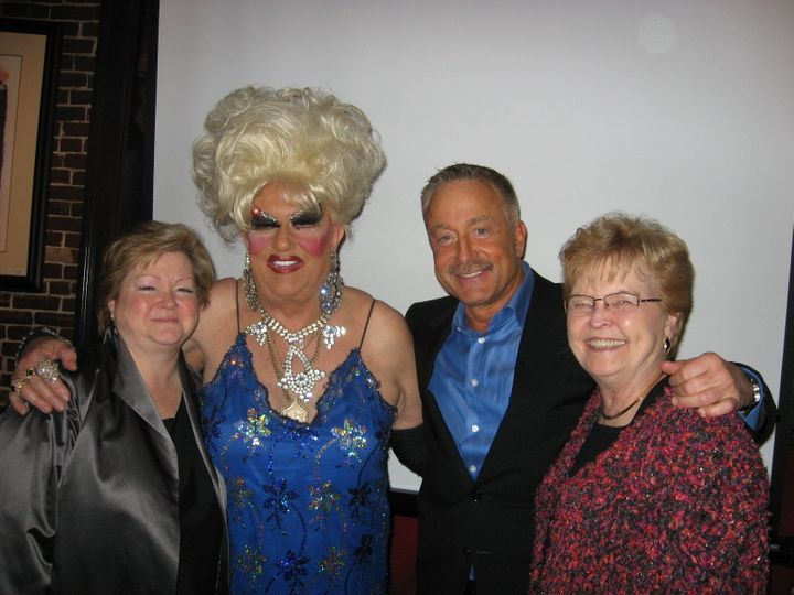 Photo of Darcelle with Judy Shepard, gay rights activist Terry Bean and Oregon Gov. Barbara Roberts. Judy Shepard is the moth