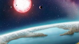 "Artist's rendering of Kepler-186f, one of more than 200 exoplanets that researchers say lie within the ""habitable zone"" of their stars and could have life."