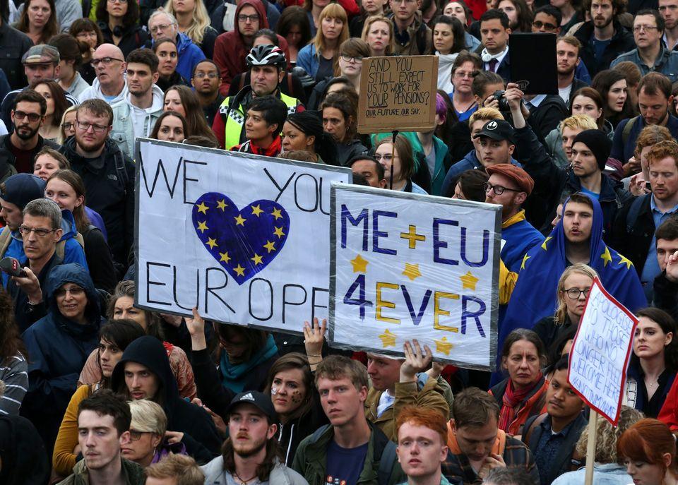 Remain protestors after the EU referendum