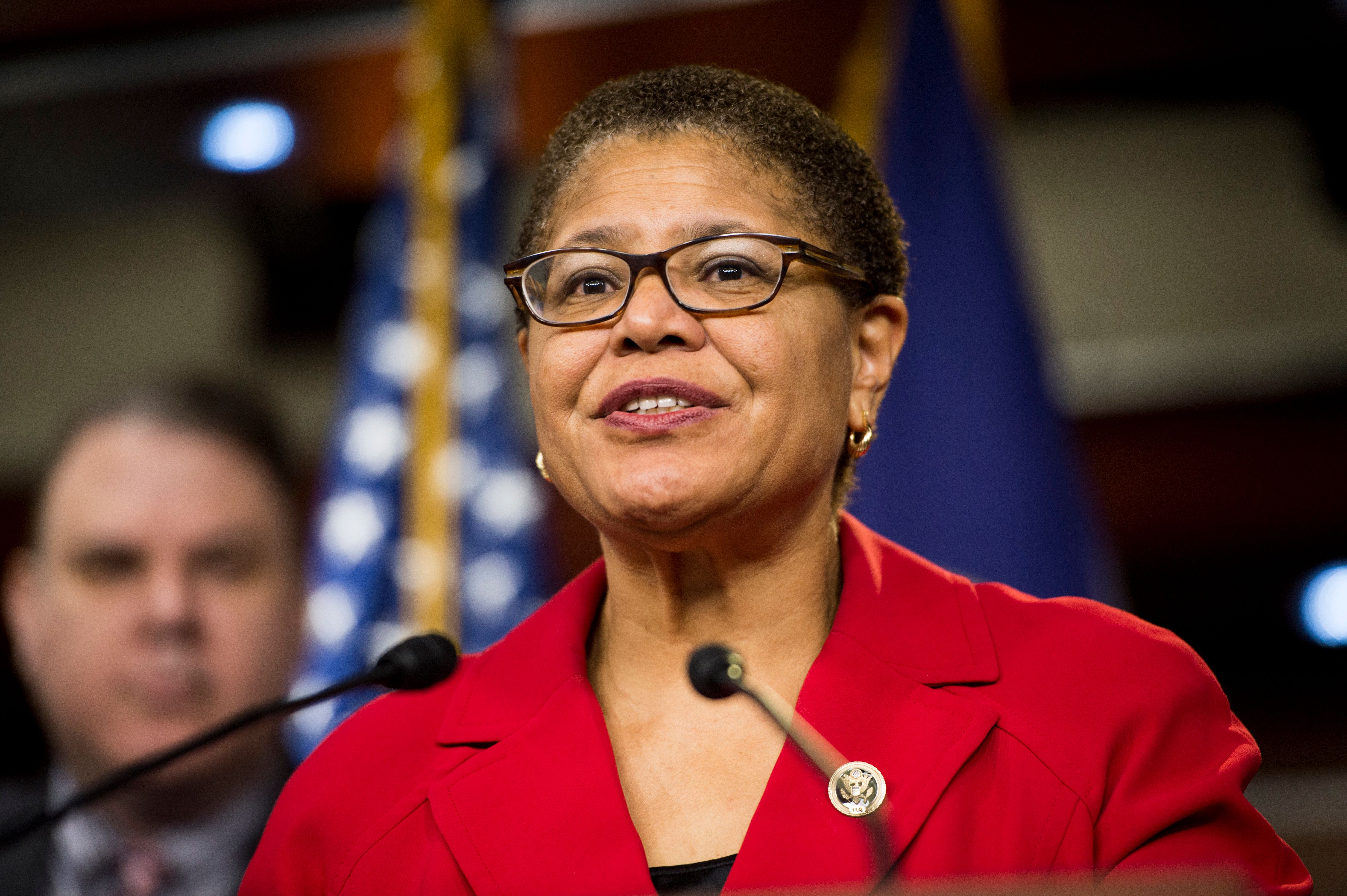 UNITED STATES - JANUARY 13: Rep. Karen Bass, D-Calif., speaks during a House Democrats' news conference in the Capitol on Tuesday, Jan. 13, 2015, to discuss plans to educate immigrant communities for the implementation of the executive actions on immigration announced by President Obama in November. (Photo By Bill Clark/CQ Roll Call)
