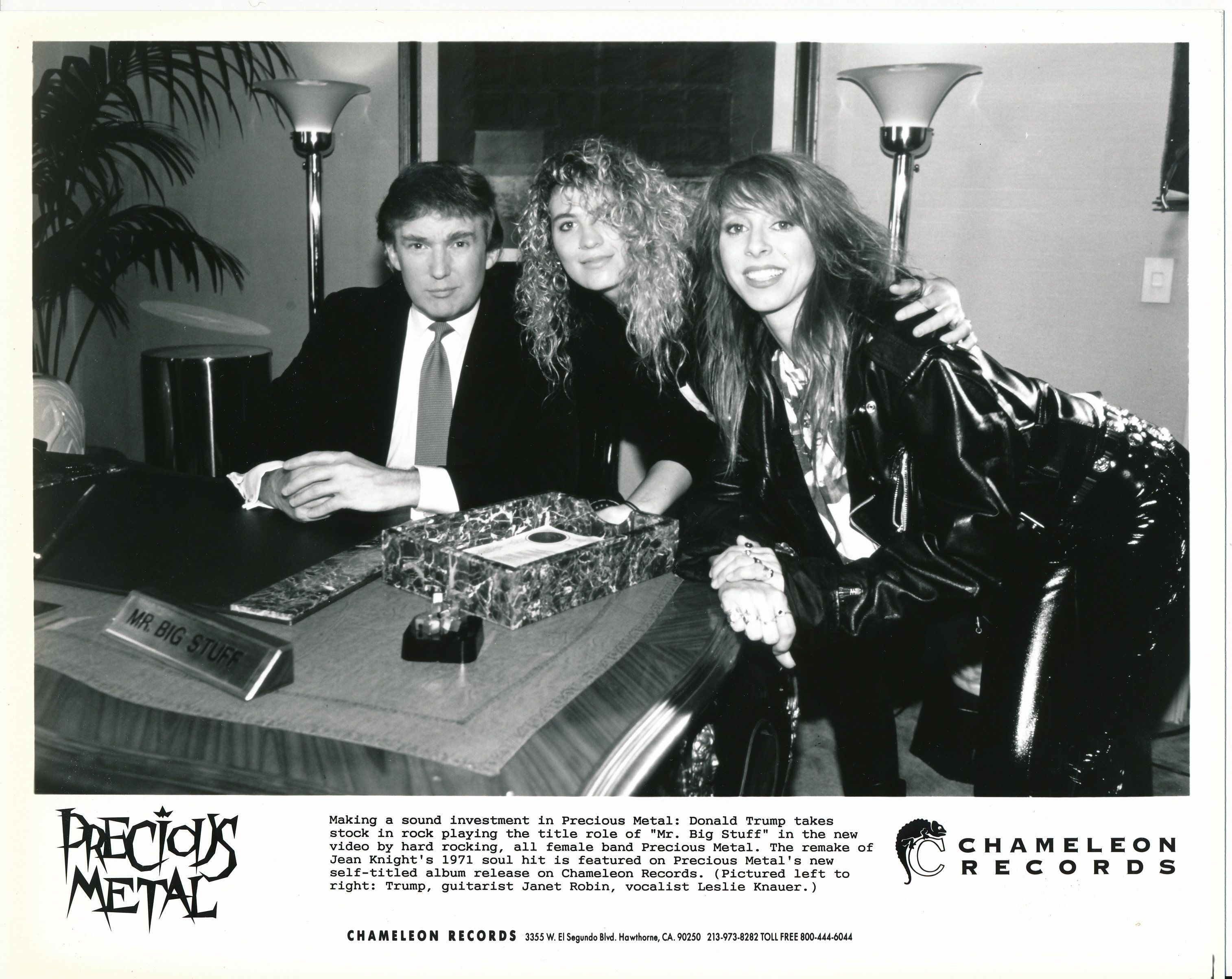 "Donald Trump seated next to Janet Robin (guitarist) and Leslie Knauer (vocalist) of Precious Metal. Courtesy <a href=""http://"