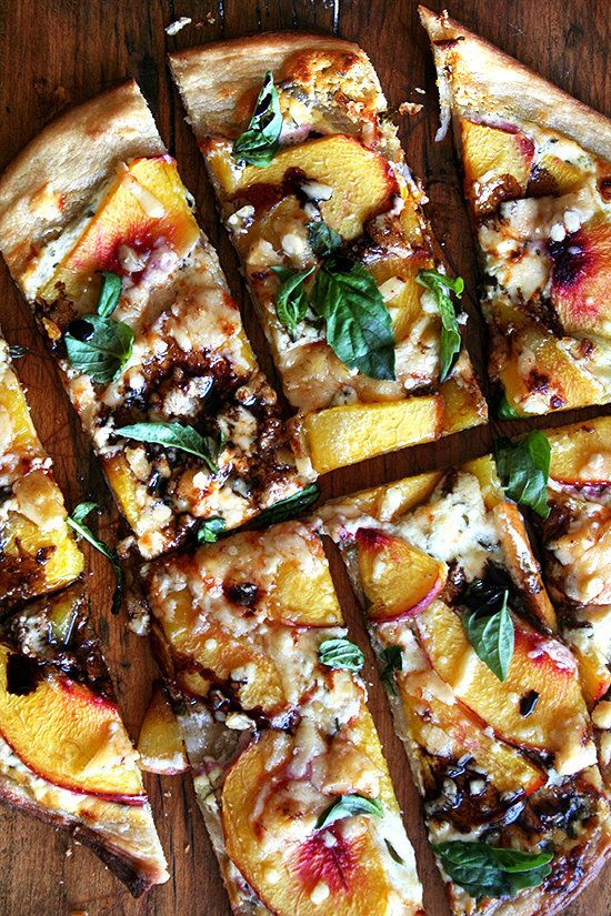 """<strong>Get the <a href=""""http://www.alexandracooks.com/2010/08/18/nectarine-pizza-with-fresh-basil-and-reduced-balsamic/"""" tar"""