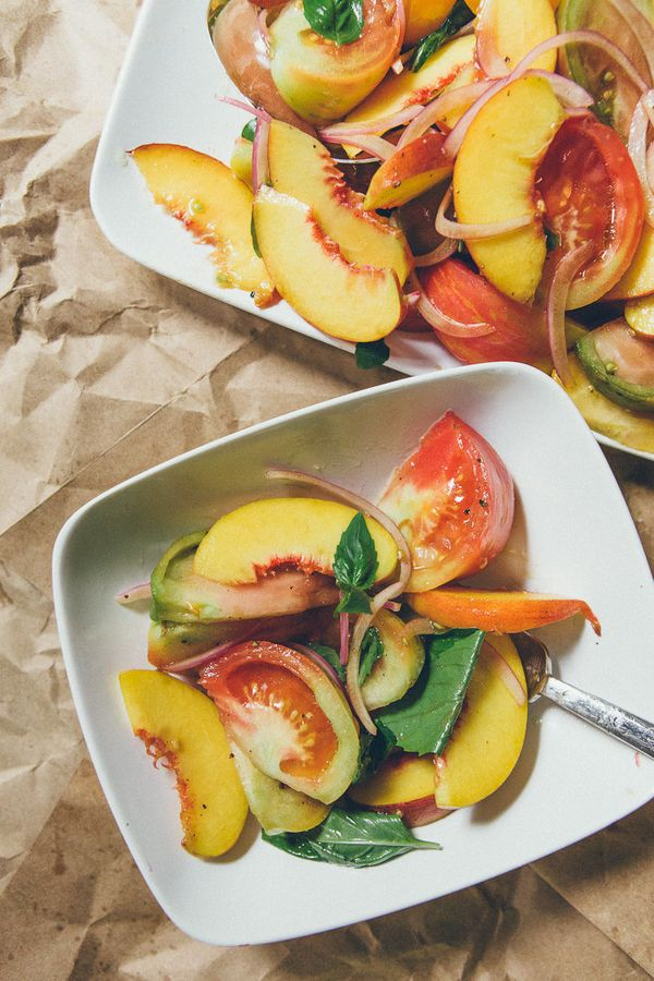"""<strong>Get the <a href=""""http://www.dinnerwasdelicious.com/search/basil"""" target=""""_blank"""">Tomato And Peach Salad With Red Onio"""