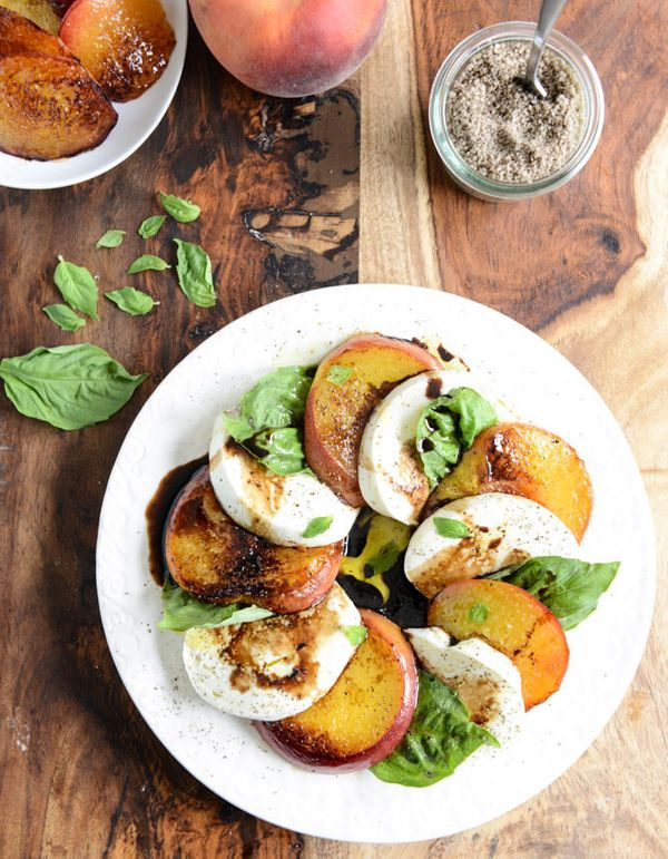 """<strong>Get the <a href=""""http://www.howsweeteats.com/2014/06/caramelized-peach-caprese-with-smoked-sea-salt/"""" target=""""_blank"""""""