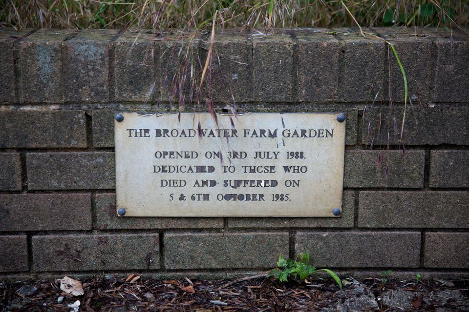 The plaque in the estate's memorial garden pays tribute to Blakelock, Jarrett and others who suffered...