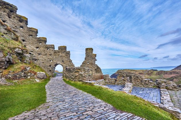 The ruins of Tintagel Castle, built in the 13th century on a site closely linked with...