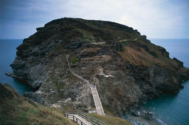 Walkways along the ruins of Tintagel Castle.