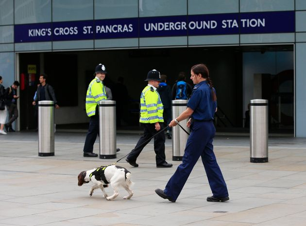 A police officer and sniffer dog outside King's Cross St Pancras underground station in London, after...