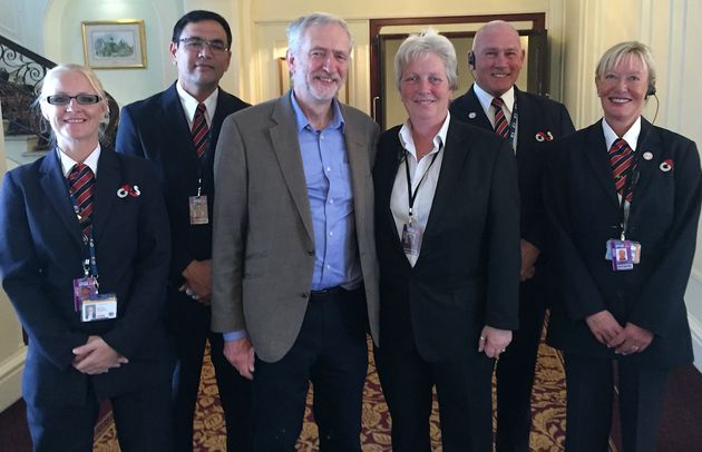 Jeremy Corbyn meets the G4S team at the 2015 Labour