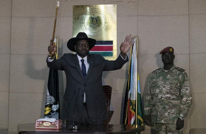 President Salva Kiir,left,fired six ministers allied to his long-time rival late on Tuesday, widening a political