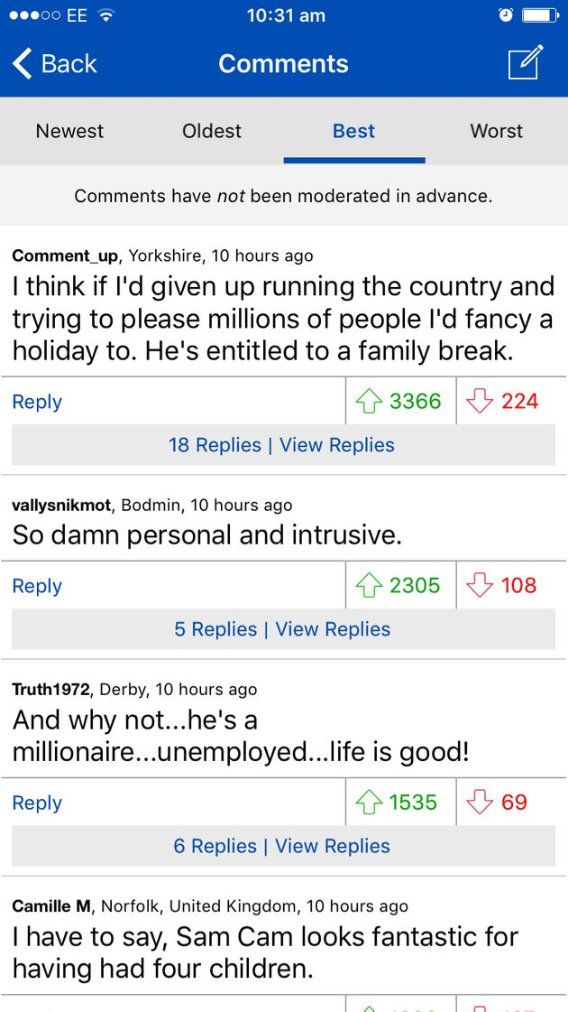 The most popular comments, as voted by Mail Online readers, on the David Cameron