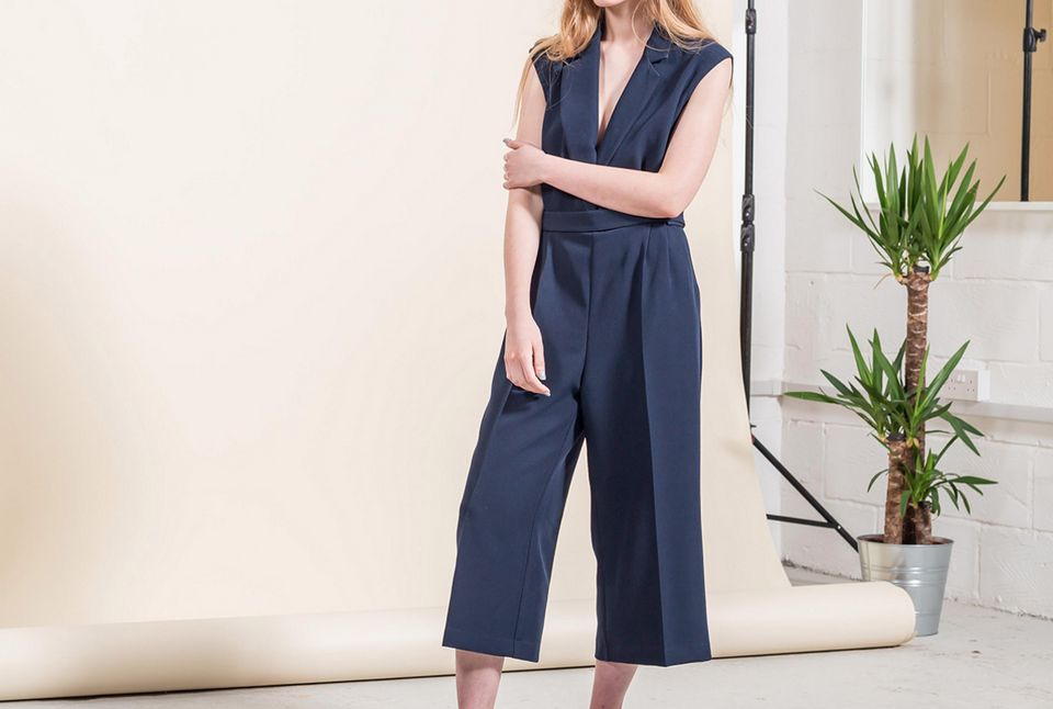 A stylish, navy culotte jumpsuit from Alter
