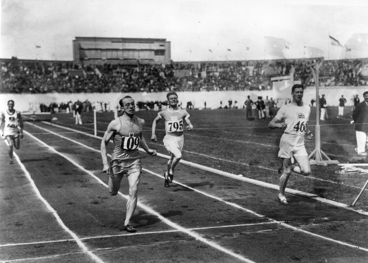 The finish of a race at the 1928 Amsterdam Olympics. Not pictured: the painters.